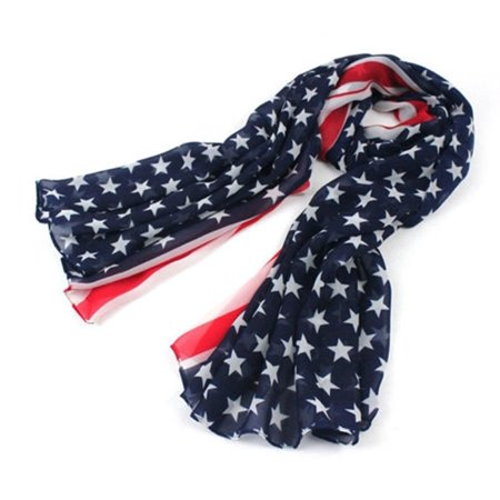 Vintage Patriotic USA American Flag Theme Long Scarf Scarves Wrap Beach Dress, Style:Scarf By ACEFAST - Lined Vintage Wrap