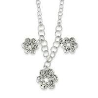 Sterling Silver Polished Filigree Flower Necklace - 6.2 Grams - 18 Inch