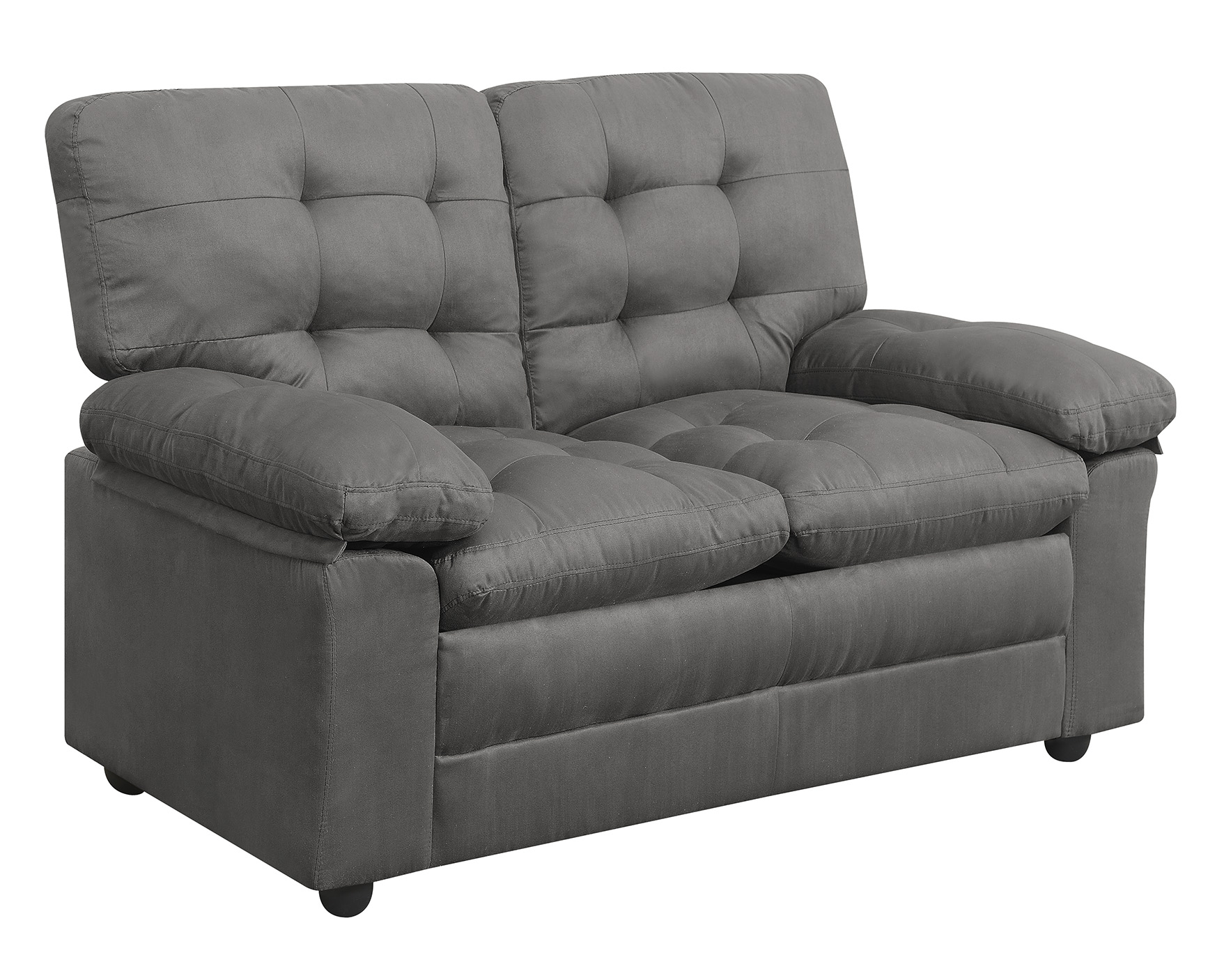 Sofa couch futon microfiber love seat tufted living room furniture grey loveseat