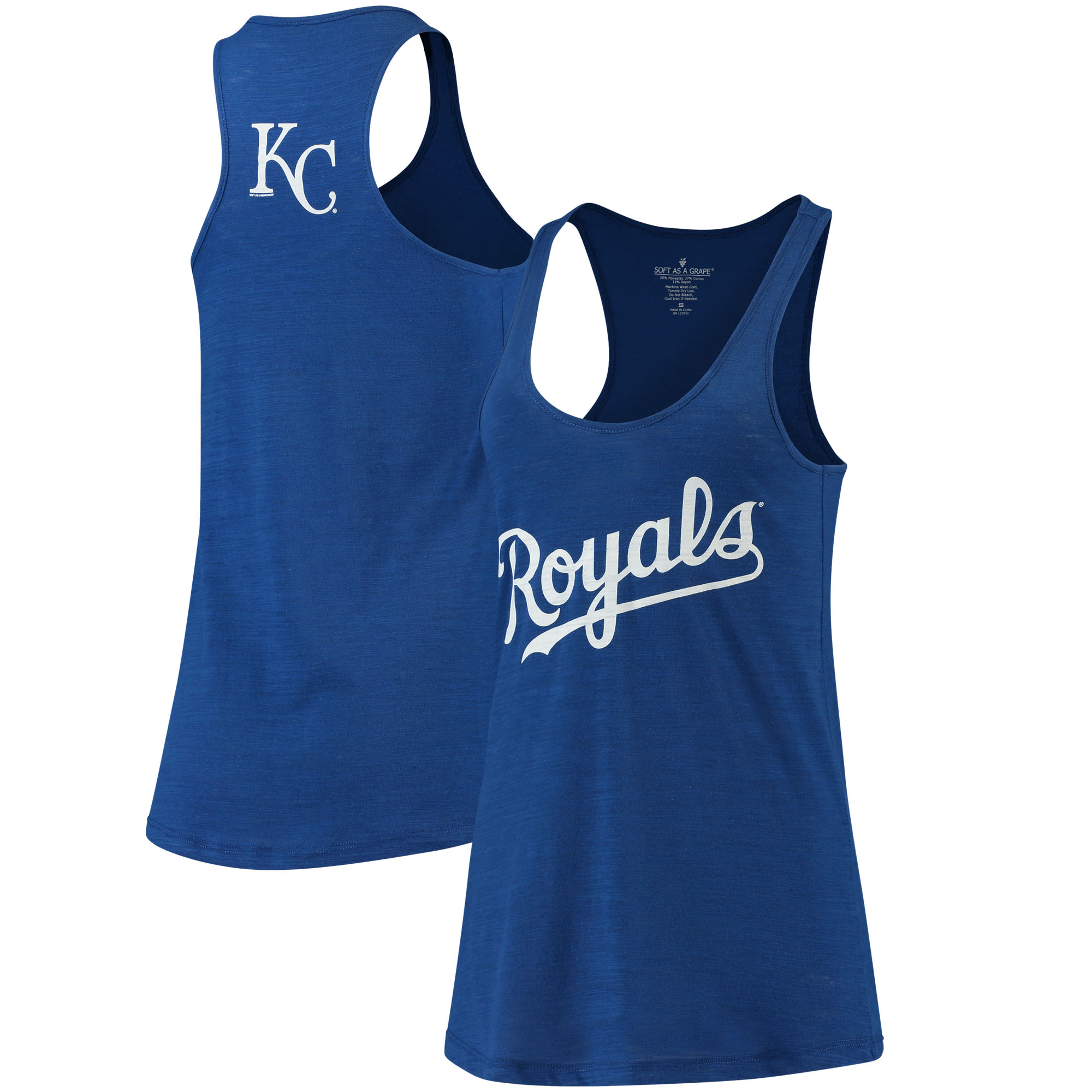 Kansas City Royals Soft As A Grape Women's Front & Back Tri-Blend Racerback Tank Top - Royal