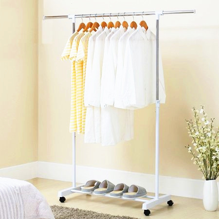 YELLOW Outdoor Clothes Drying Rack Garment Clothes Clothing Laundry Hanger Holder Adjustable Racks, White