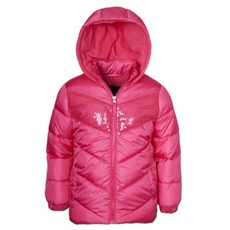 Sequin Hooded Puffer Jacket (Little Girls & Big Girls) (Girls Winter Clothes Sale)