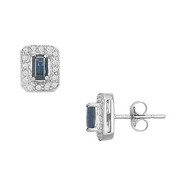 FineJewelryVault UBSE60116ESAW-105 Sapphire and Diamond Earrings : 14K White Gold - 1. 00 CT TGW