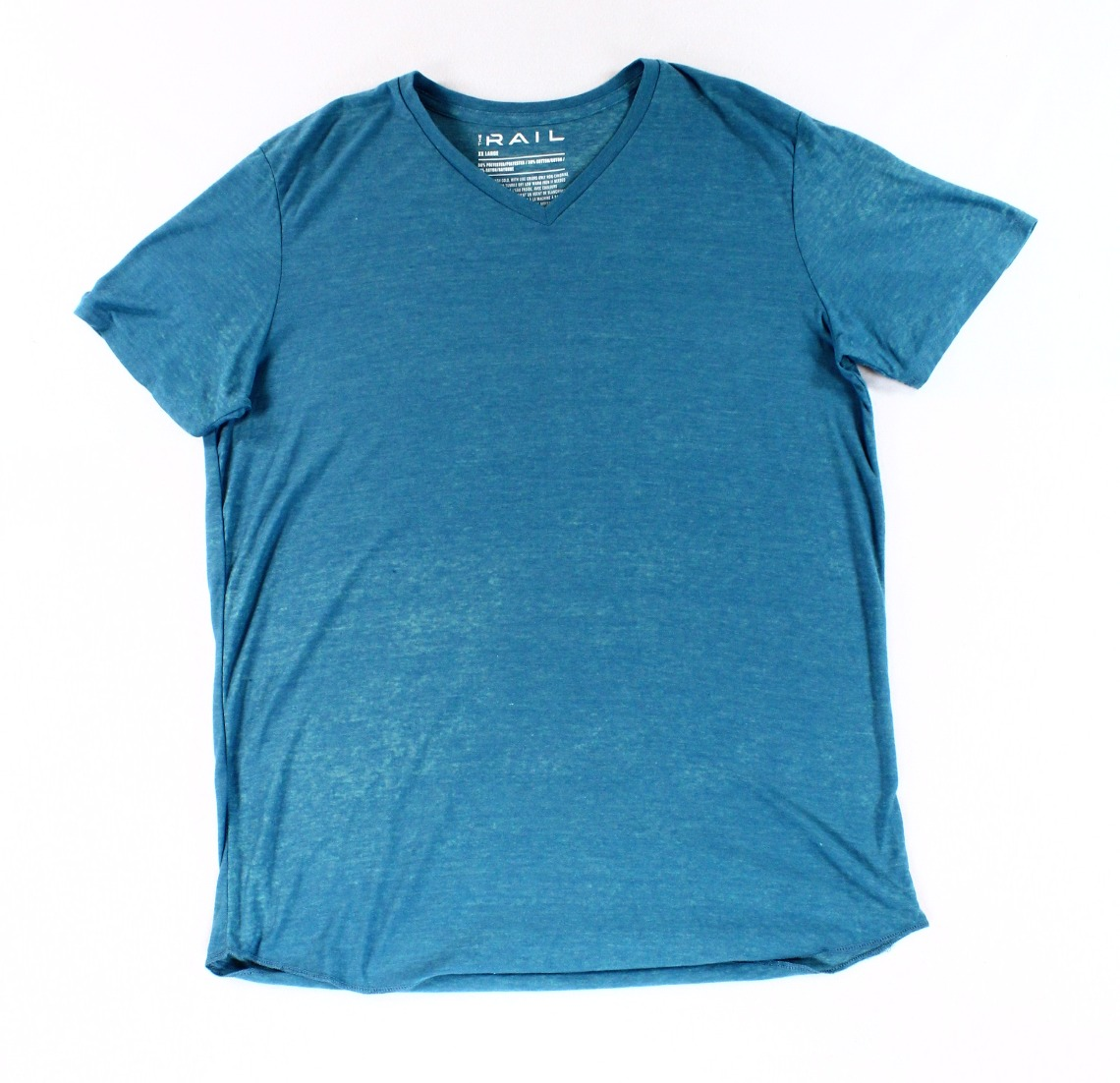 The Rail NEW Teal Steel Blue Mens Size 2XL Knit V-Neck Tee Shirt