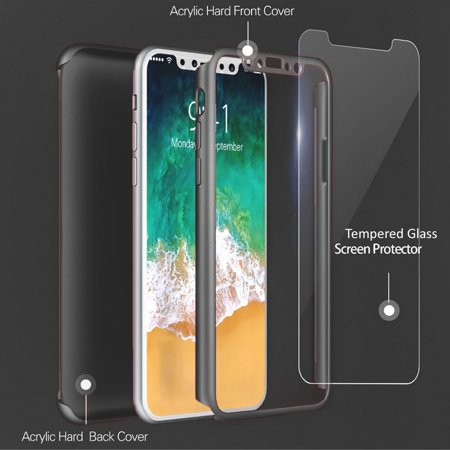 Apple iPhone X [Ultra Hybrid] Clear Hybrid TPU Bumper Case Cover (Black) - image 1 de 3