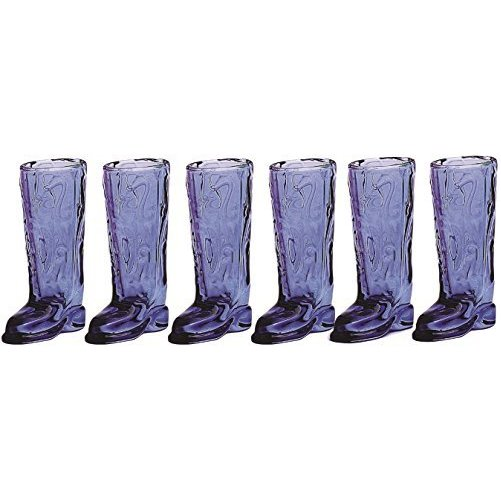 "Glass Shot Glasses, Set of 6 Fun Shaped Cowboy Boots, 1.5 Ounce , Clear Heavy Base Whiskey Drinking Glasses Limited ""Kic"