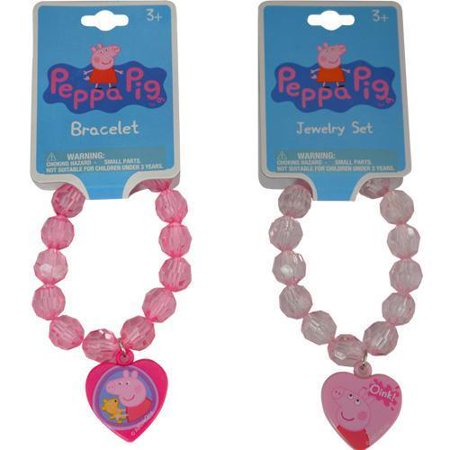 Peppa Pig Faceted Beaded Bracelet with Plastic Charm 2 Asstd.