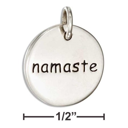 Plum Island Silver P-018599 Sterling Silver Inspirational Two Sided Namaste Message Disk Charm - image 1 of 1