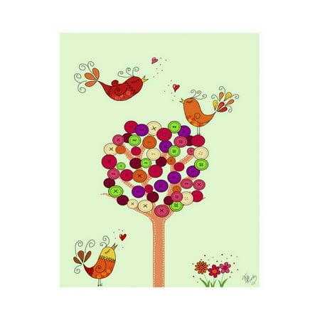 Orange Button Tree Print Wall Art By Fab Funky](Button Art)