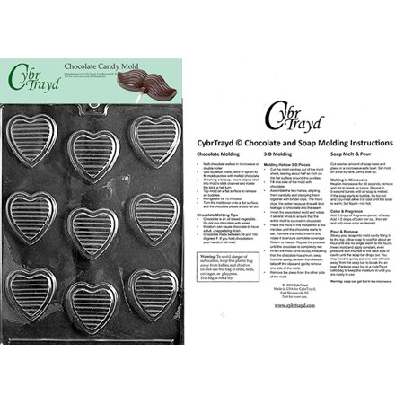 - Hearts With Ridges Valentine Chocolate Candy Mold with Exclusive Cybrtrayd Copyrighted Molding Instructions