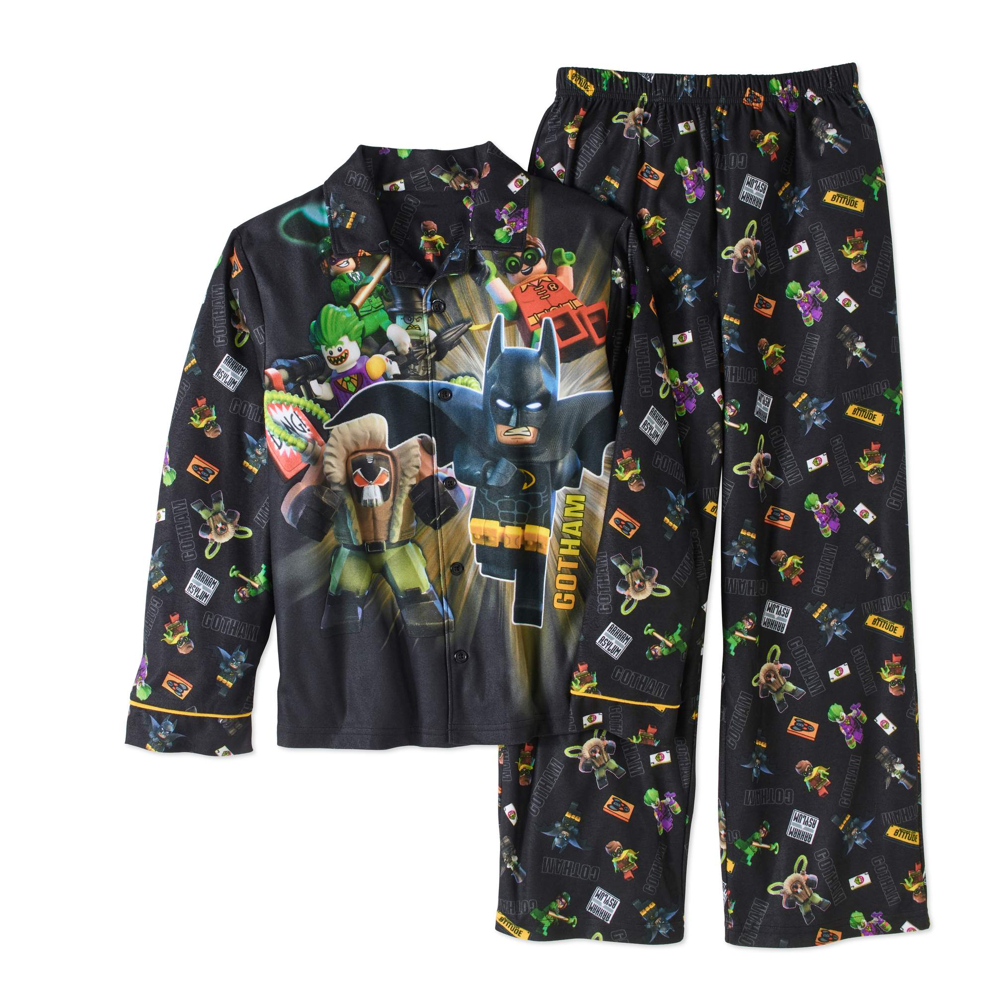 Lego Batman Boys' Micro Fleece Pajama Coat-Style 2-Piece Sleepwear Set by Generic