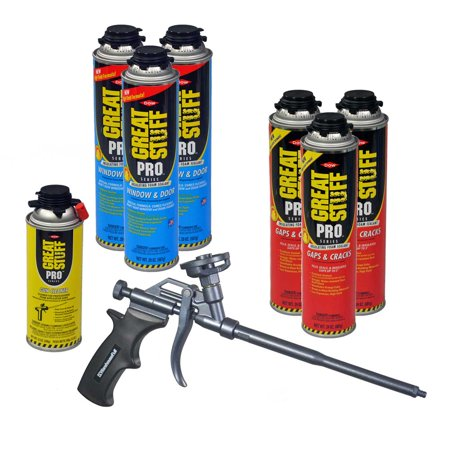 Dow Great Stuff PRO Foam Kit: 3 cans Window & Door, 3 cans Gaps & Cracks +  Teflon Coated AWF Pro Foam Gun (1) + Dow Foam Gun Cleaner (1)