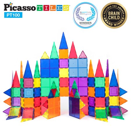 Maple Blocks Set - Picasso Tiles 100 Piece 3D Color Magnetic Building Block STEM Set
