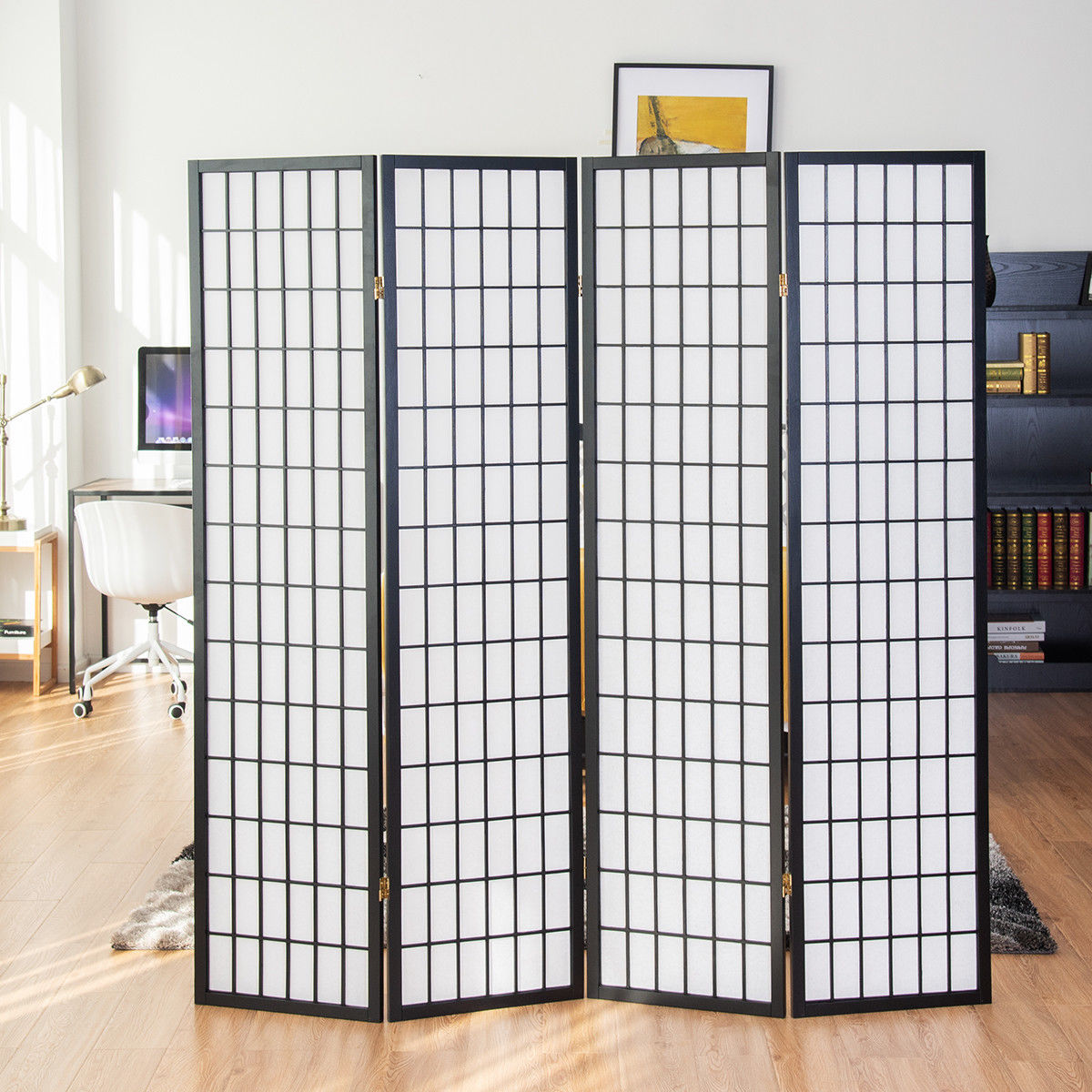 Awesome Costway 4 Panel Room Divider Folding Privacy Shoji Screen Pine Wood Frame Black Home Interior And Landscaping Analalmasignezvosmurscom