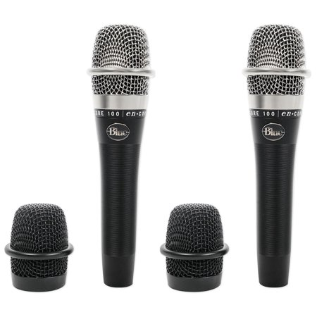 (2) Blue Encore 100 Black Dynamic Handheld Live Sound Microphones Vocal