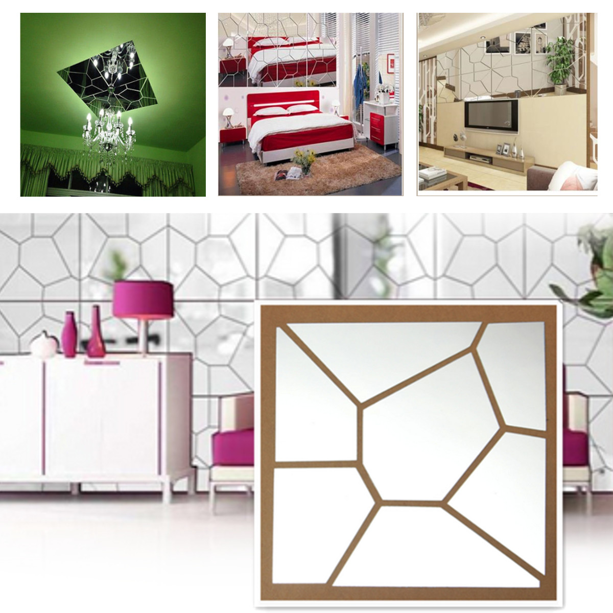 35PCS 3D Wall Decal Acrylic Modern Mirror Art Mural Wall Sticker For Home Living Room Bedroom Decoration