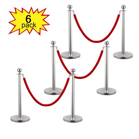 Lazymoon Pack Of 6 Stanchion Posts Set Queue Safety Barrier With Red Velvet Ropes  Silver