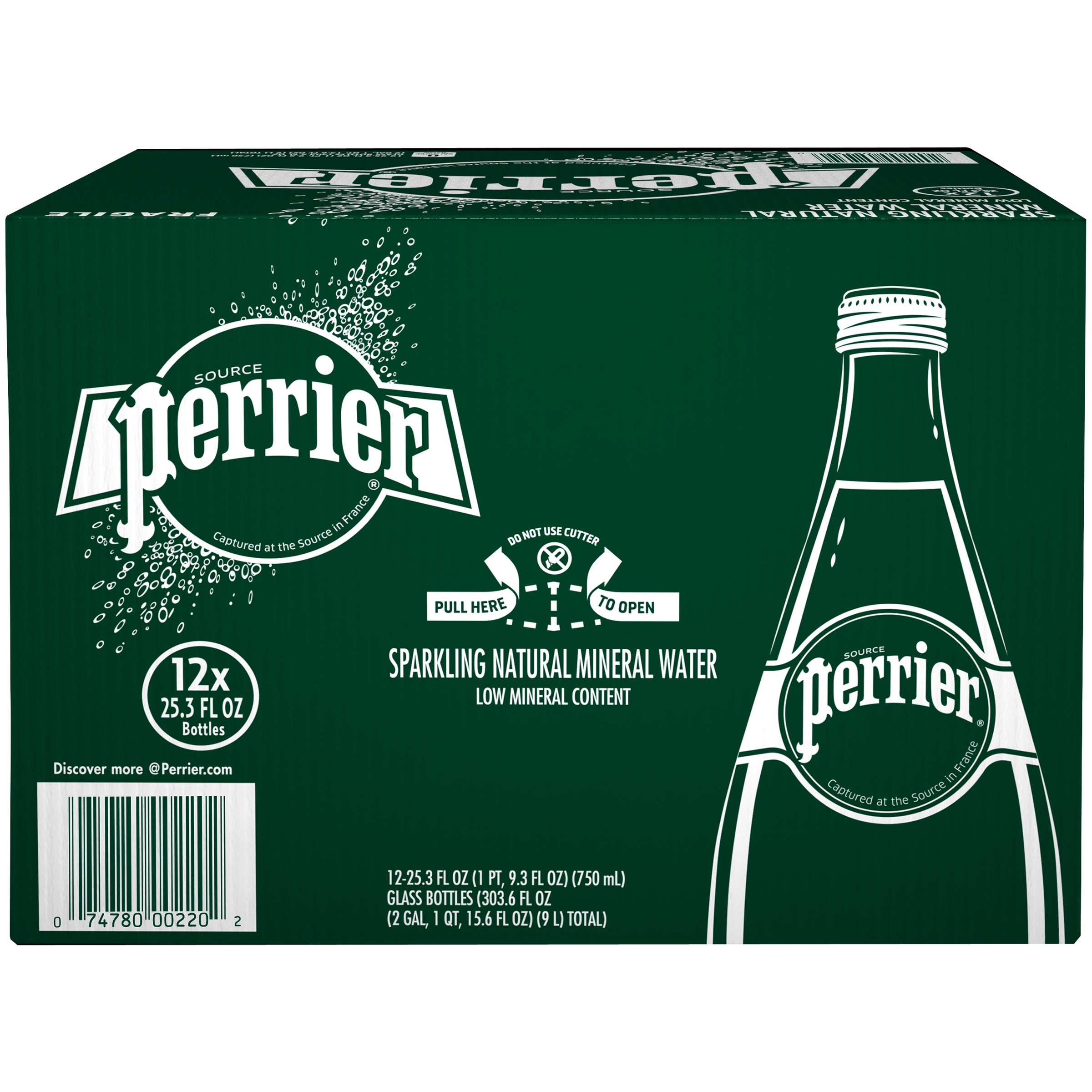PERRIER Carbonated Mineral Water 12-25.3 fl. oz. Bottles