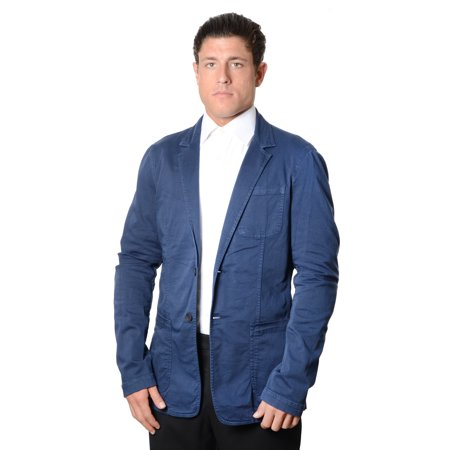 Versace Jeans Mens Two-Button Cotton Twill Blazer Sport Coat, Navy ...