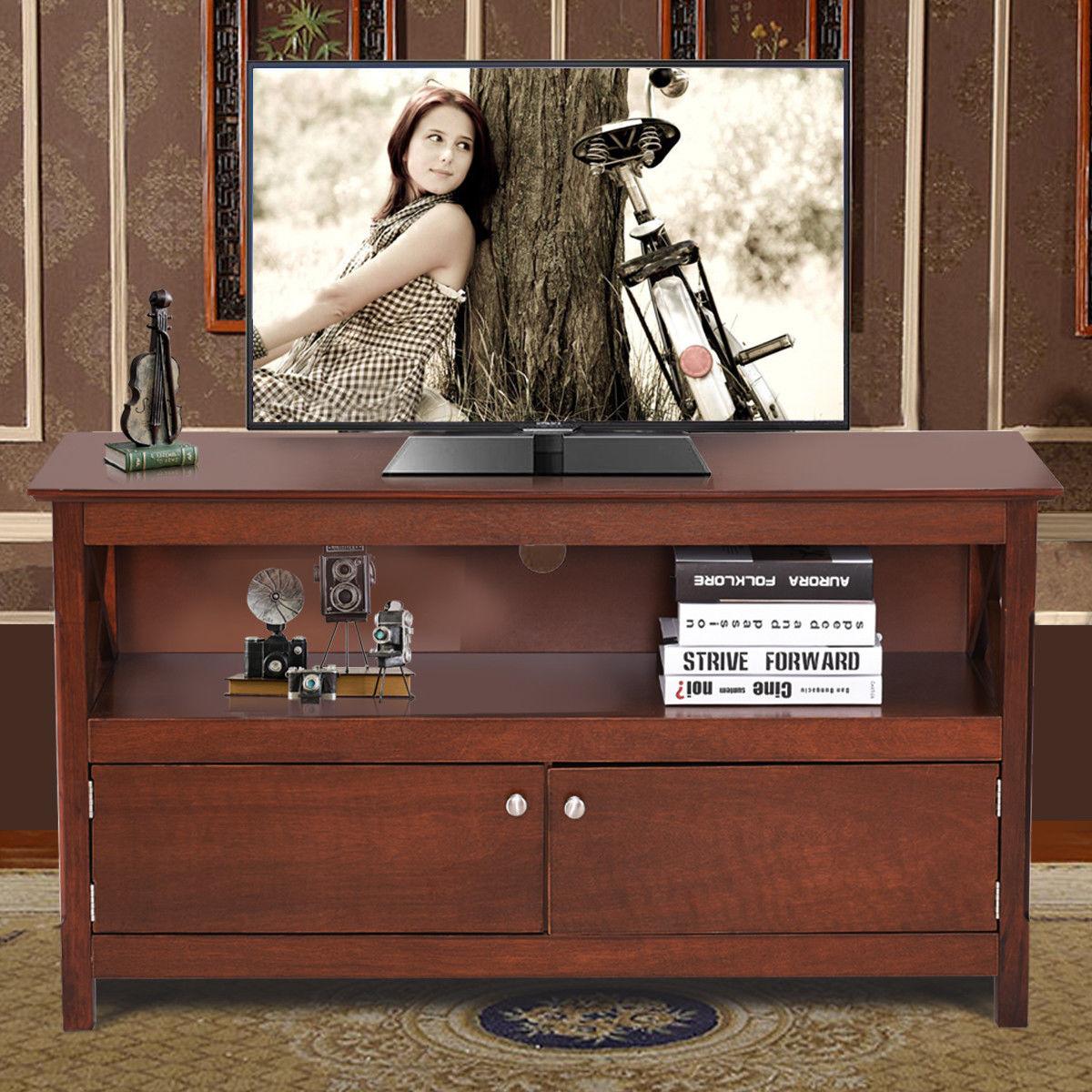 "44"" TV Stand Console Wooden Storage Cabinet Shelf Media Center Stand - image 3 de 9"