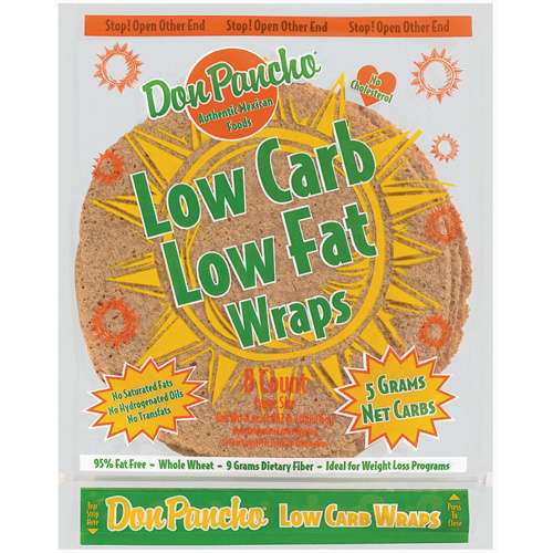Don Pancho Low Carb Low Fat Whole Wheat Large Wraps, 8 ct