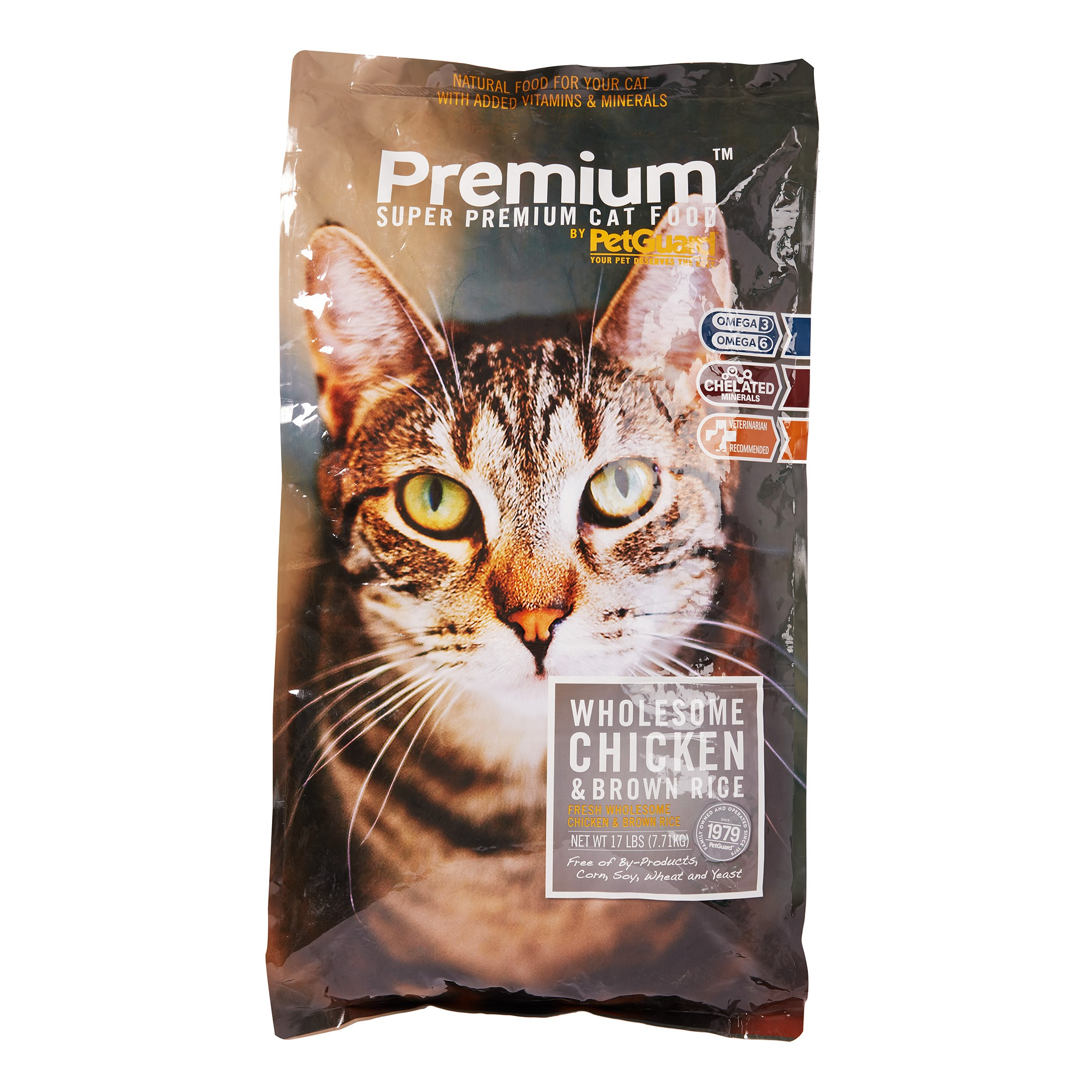 PetGuard Premium Wholesome Chicken & Brown Rice Dry Cat Food, 17 lb