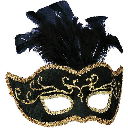 Black with Gold Trim Half Style Adult Mask