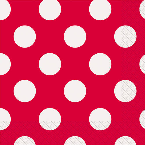 Polka Dot Paper Lunch Napkins, Hot Pink, 16ct