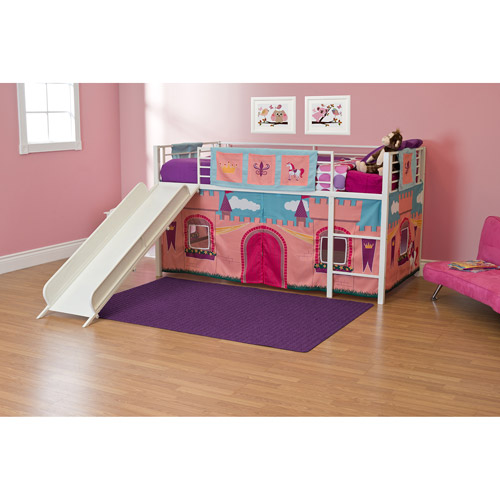 Girls Princess Castle Twin Loft Bed with Slide, White