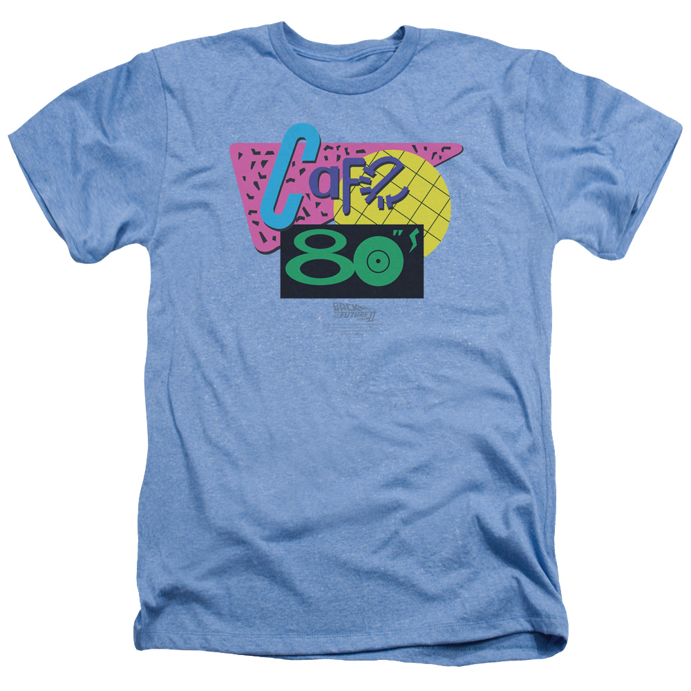 Back To The Future II Cafe 80's Mens Heather Shirt LIGHT BLUE 2X