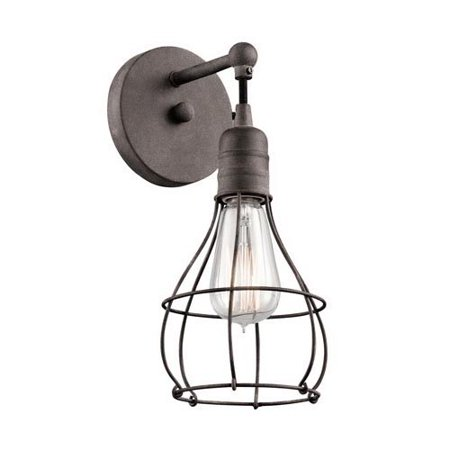 Kichler Industrial Cage Traditional Dimmable Wall Sconce, Indoor, Weathered Zinc Housing, 120 V, 1 Lamp, 100 W