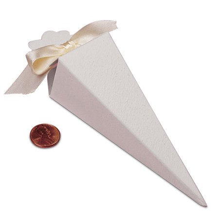 White Cone Shaped Favor Box | Quantity: 25 | Width: 1 1/2