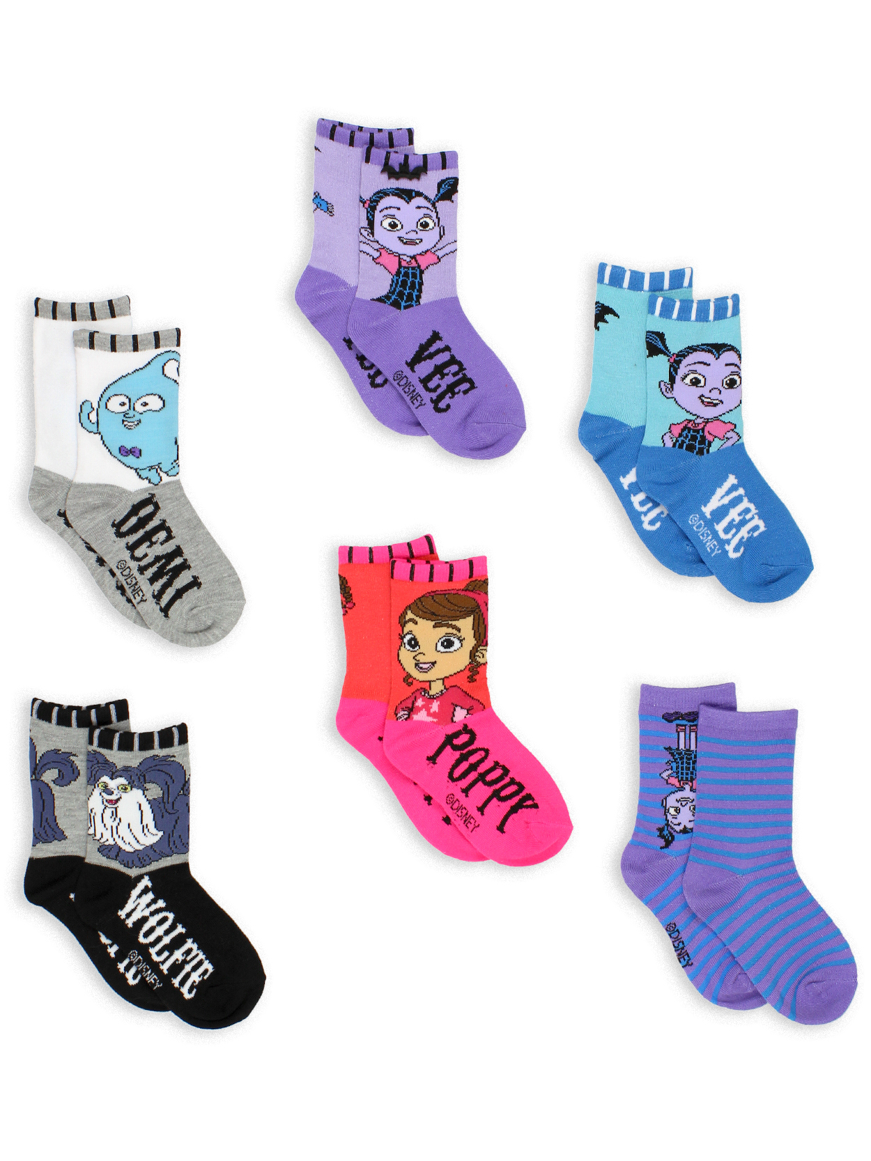 Vampirina Girls Toddler 6 pack Crew Socks VP018GCC