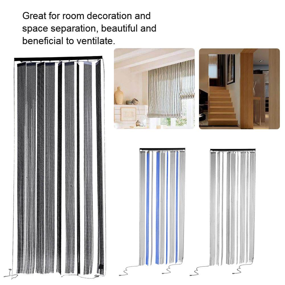WALFRONT Metal Insect Pest Fly Control Door Screen Curtain with Rollers Home Kitchen Bathroom Decoration, Chain Insect Door Screen,Door Screen