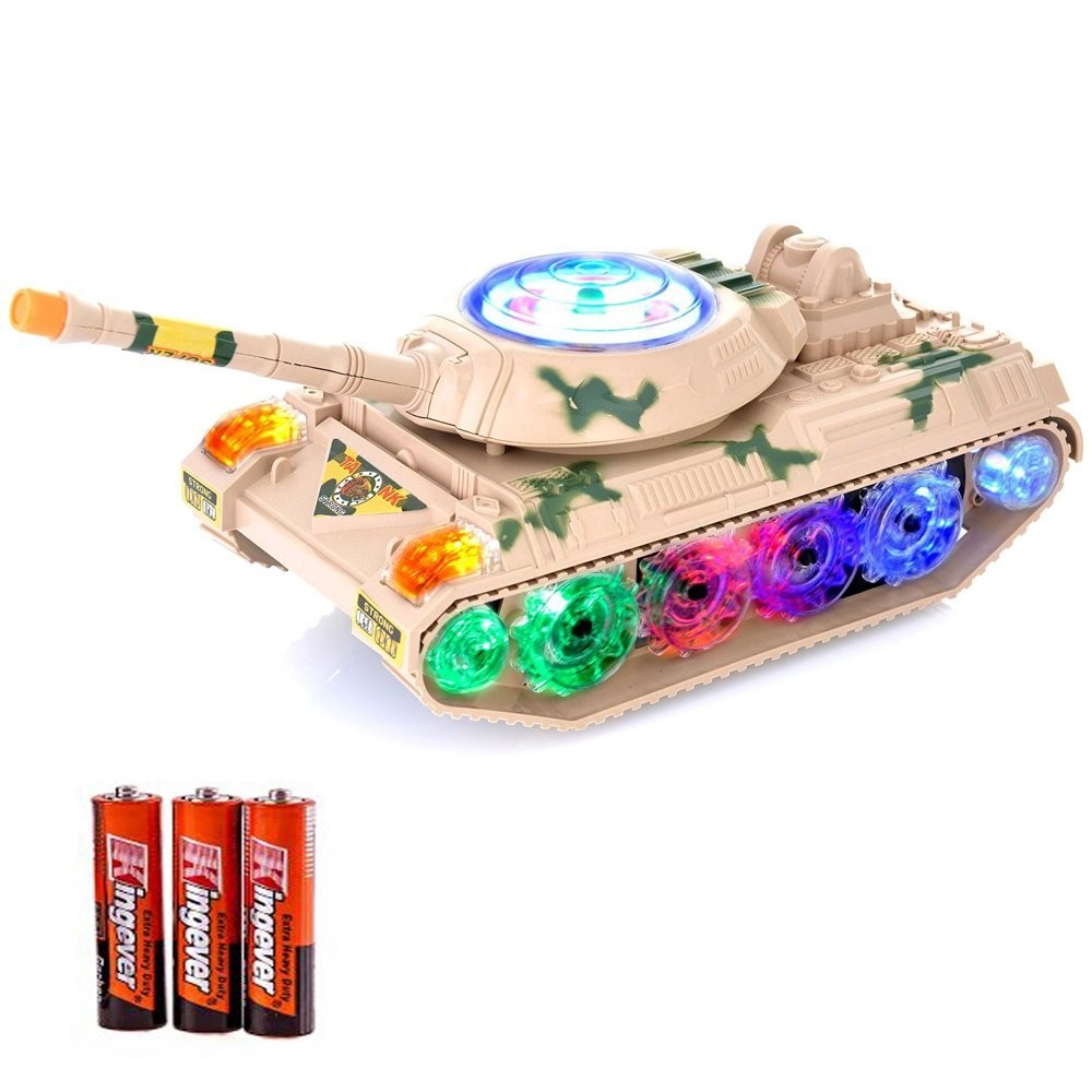 Toysery Military Army Tank Fighter Toy, with LED Flashing Lights and Sound, Bump and Go Action Battery Operated for Kids.