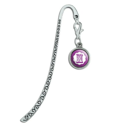 Letter M Initial Flower Purple Metal Bookmark Page Marker with Charm
