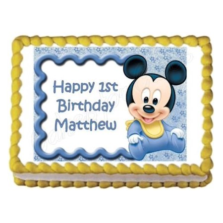 BABY MICKEY MOUSE baby shower or birthday party edible cake image topper sheet - Baby Mickey Mouse First Birthday