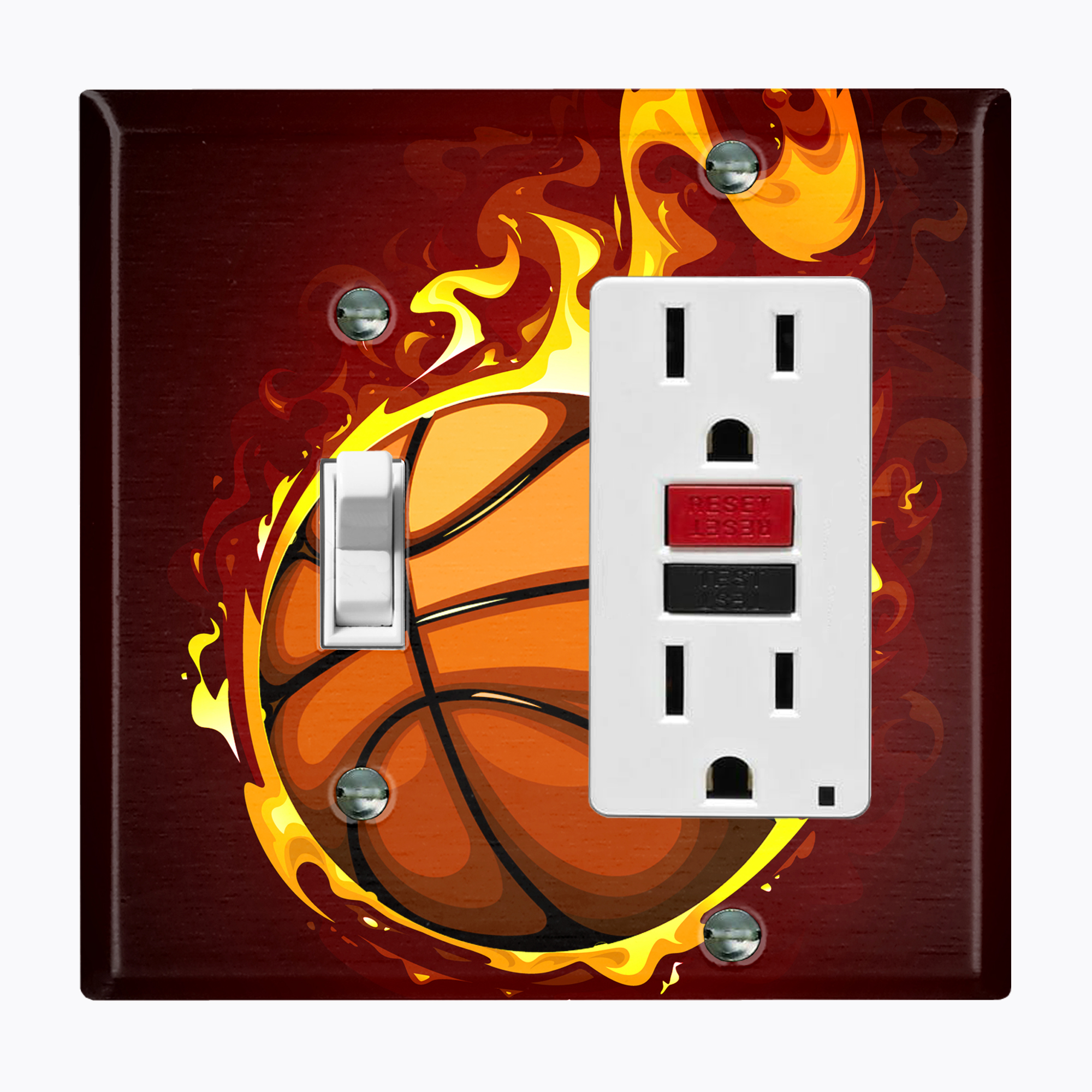 BASKETBALL AND 1 LIGHT SWITCH /& OUTLET COVERS; SPORTY AND COOL!-FREE SHIPPING