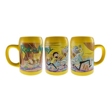 RICK AND MORTY Surreal Entertainment Adult Swim Rick and Morty Ceramic 20oz Beer Stein Novelty Character (Pottery Beer Stein)