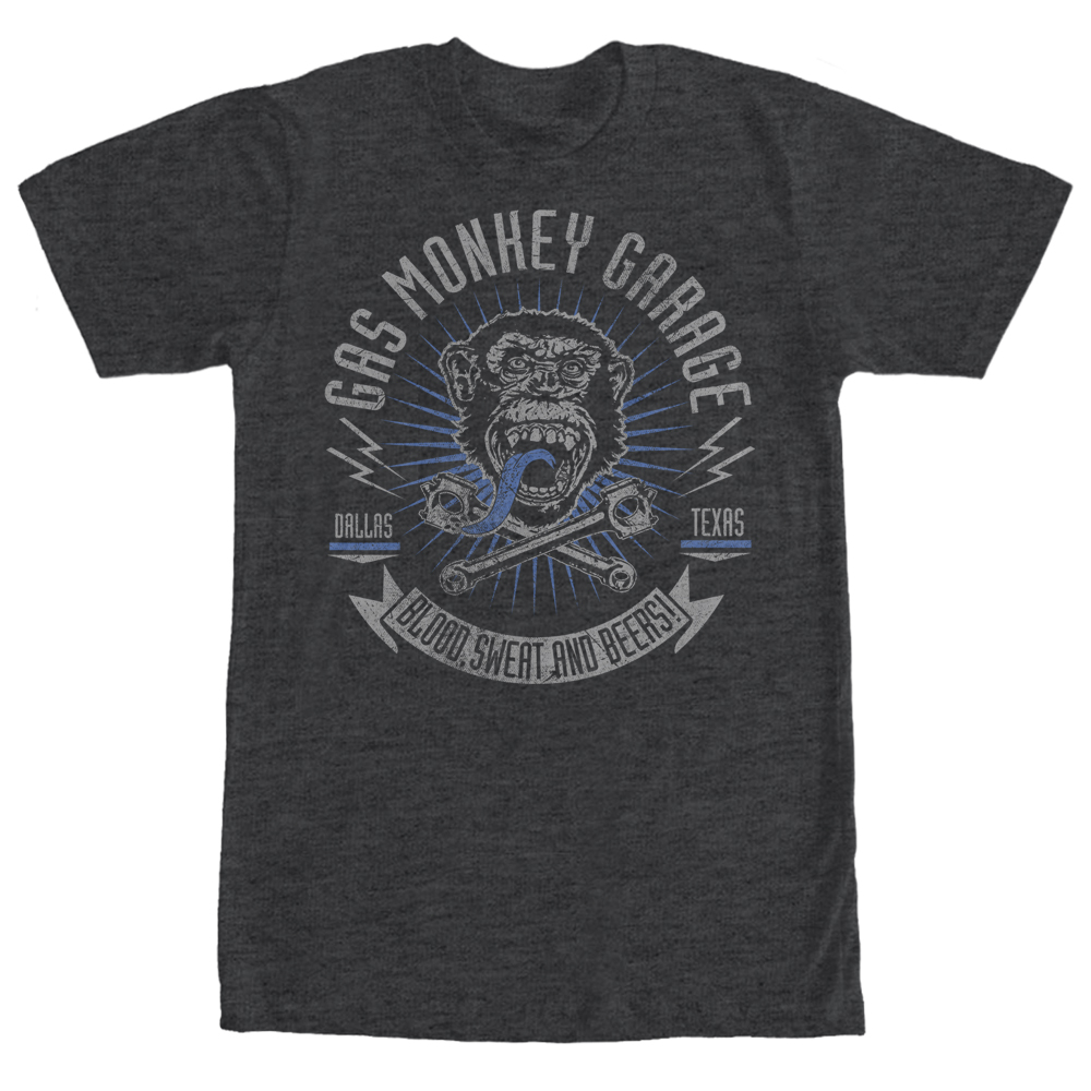 Gas Monkey Men's Logo Blood, Sweat, and Beers T-Shirt