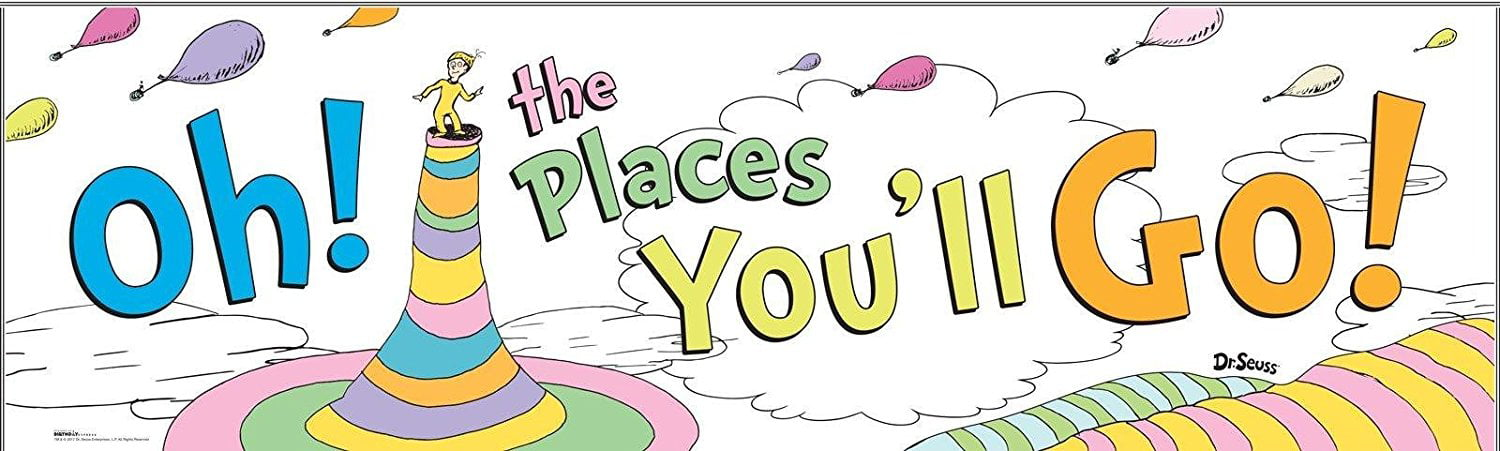 Seuss Birthday Banner Personalized Party Backdrop Oh the Places you Go Dr