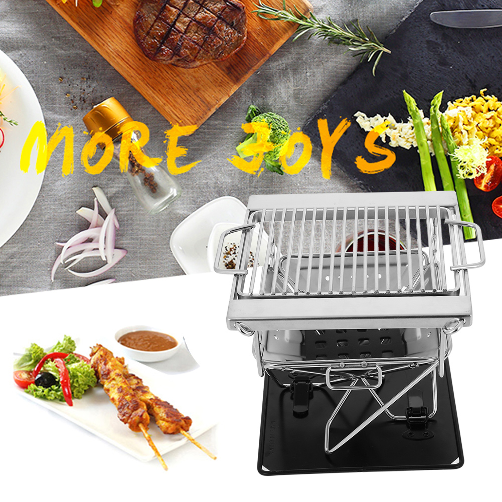 Outdoor Foldable Portable Stainless Steel Barbecue Grill Charcoal Rack for BBQ Picnic , Charcoal Grill, Foldable Grill