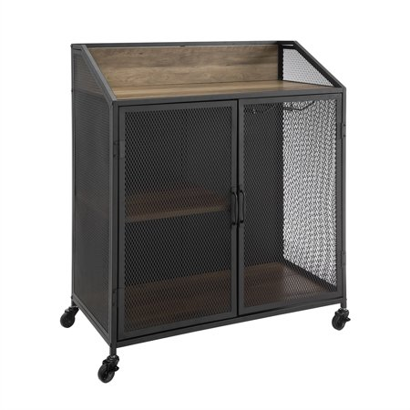 33 inch Industrial Rustic Oak Bar Cabinet with Mesh