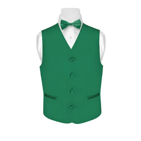 BOY'S Dress Vest & BOW Tie Solid EMERALD GREEN Color BowTie Set