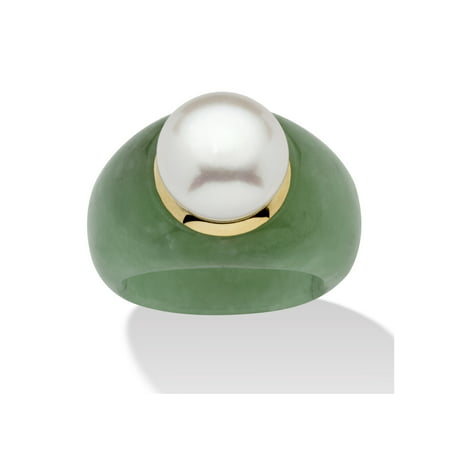 Round Cultured Freshwater Pearl Green Jade 10k Yellow Gold Ring (11mm) - Rings That Light Up