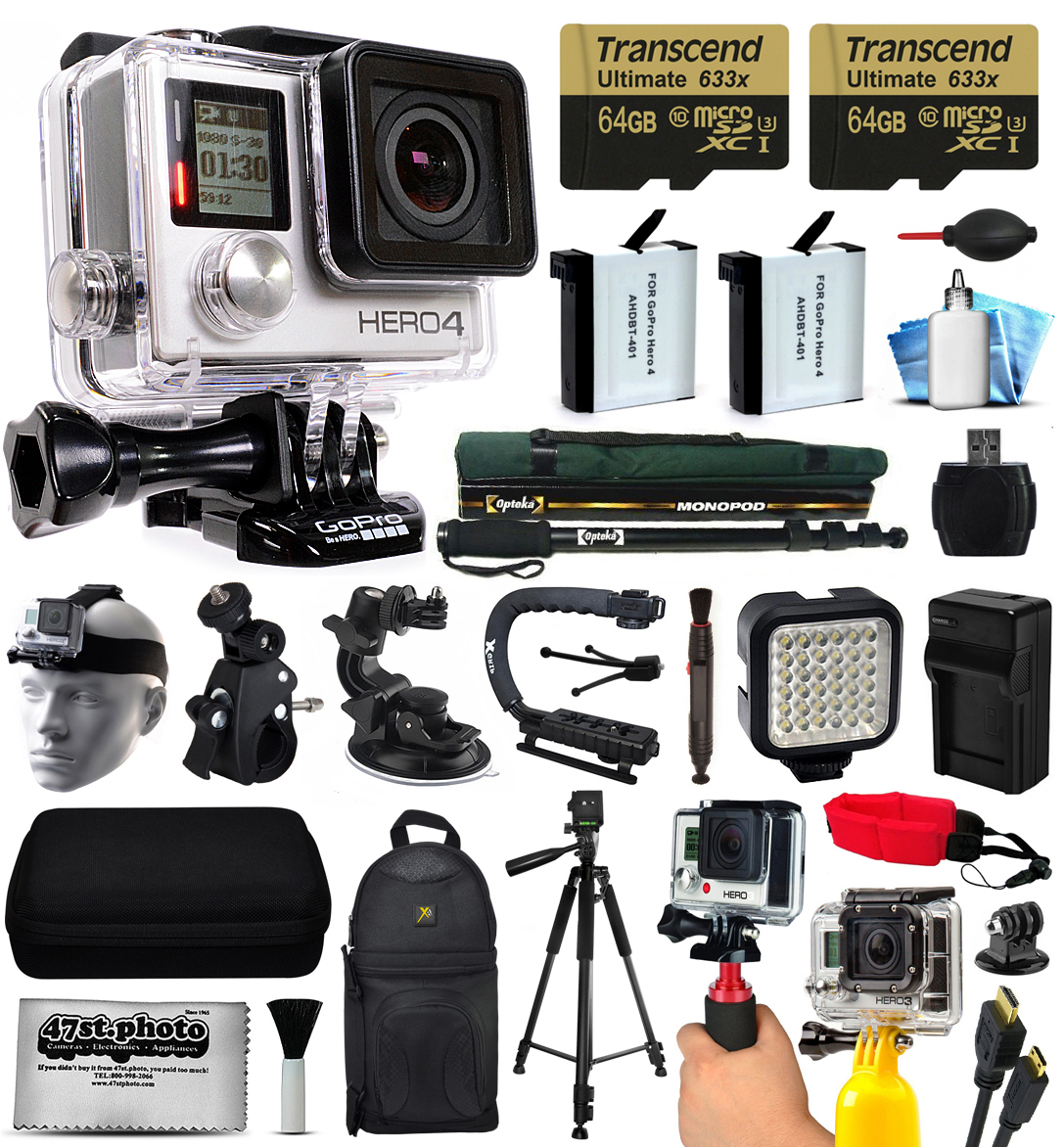 GoPro HERO4 Silver Edition 4K Action Camera with 2x Micro SD Cards, 2x Batteries, Charger, Card Reader, Backpack, Helmet Strap, Action Handle, Car Mount, Selfie Stick, Tripod, Case, HDMI Cable + More