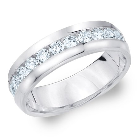 93c0bc43a54 Eternity Wedding Bands - 1 CTTW Diamond Men s Wedding Band in White Gold