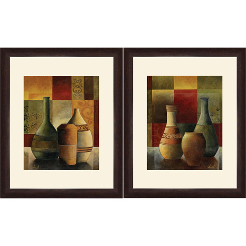 "Wall Art Set Of 2 framed graphic ""colored vase"" wall art, 13"" x 16"", set of 2"