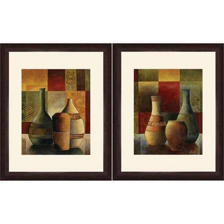 framed graphic colored vase wall art