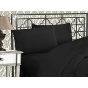 """Elegant Comfort  1500 Thread Count - WRINKLE RESISTANT -  4 pcs Bed Sheet Set, Deep Pocket Up to 16""""  , Queen , Black"""